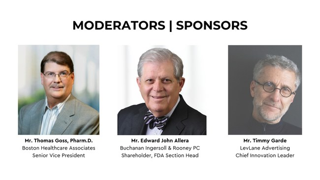 The sponsors and moderators of Leaders in Life Sciences, Tom Goss of Boston Healthcare Associates, Edward John Allera, of Buchanan Ingersoll & Rooney PC, and Timmy Garde, of LevLane Advertising.