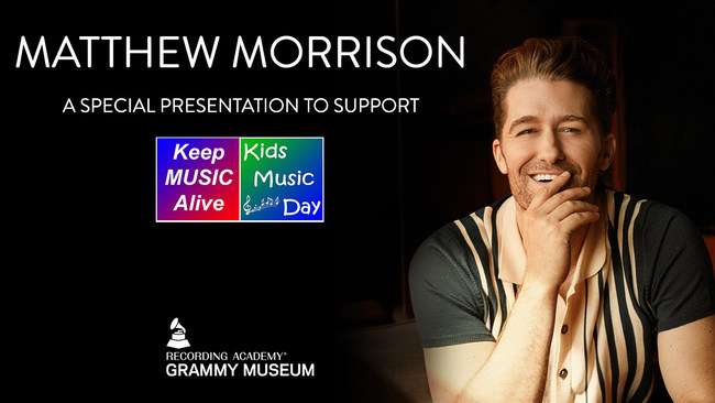 Emmy, Tony, and Golden Globe nominated artist Matthew Morrison serves as an official ambassador for the 5th Annual Kids Music Day, celebrated on Friday, October 2. To support Kids Music Day, Matthew performs four songs off of his latest studio album, Disney Dreamin'. Grammy, Tony, & Emmy nominated star Vanessa Williams, and Grammy award winning artist and actor Jack Black also serve as Kids Music Day ambassadors, and are featured giving personal testimonials on the importance of music education.