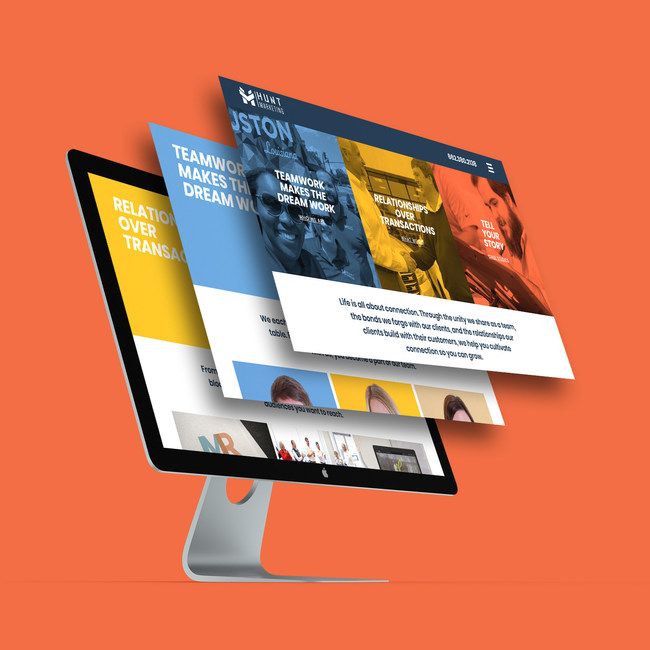A mockup of three main pages on the new Hunt Marketing website