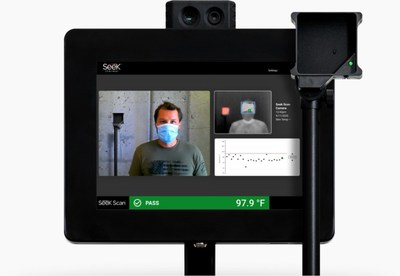 """Seek Scan Kiosk offers simple, all-in-one temperature screening solution with accurate, automated, affordable and """"out of the box"""" thermal scanning to help businesses and institutions reopen to a safer environment with ease."""