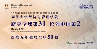 Tongji SEM Ranked 31st in FT 2020 Masters in Management Ranking