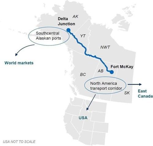 Alaska - Alberta Railway Corporation (A2A Rail) track across the border between Alaska and Canada (CNW Group/Alaska-Alberta Railway Development Corporation)