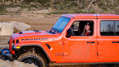 Professional driver, Gray Leadbetter, put the new Jeep Gladiator to the test. The look on her face says it all.