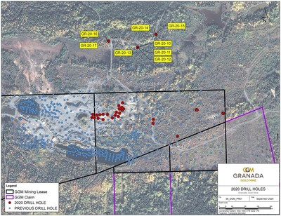 Drill hole location map (CNW Group/Granada Gold Mine Inc.)