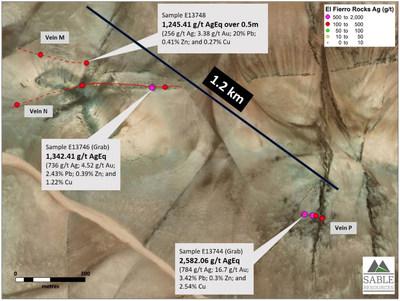 Figure 1. Mineralized structures at La Verde zone (CNW Group/Sable Resources Ltd.)