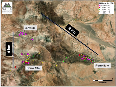 Figure 2. Location of La Verde in relation to the El Fierro Project (CNW Group/Sable Resources Ltd.)