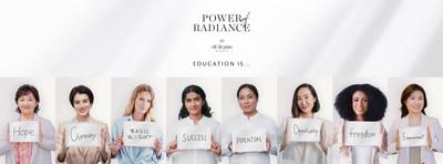 De izquierda a derecha: Yukari Suzuki, jefe de marca de Clé de Peau Beauté; Chiaki Horan, actriz y celebridad de TV; Toni Garrn, activista humanitaria, modelo y actriz; Pratiksha Pandey, ganadora del premio Power of Radiance Award 2020; Binita Shrestha, ganadora del premio Power of Radiance Award 2020; Chriselle Lim, emprendedora y creadora de contenidos digitales; Fionnghuala O'Reilly, modelo, ganadora de concursos de belleza, datanauta de la NASA y directora de Space Apps DC; Mizuki Hashimoto, jefe adjunta de marca de Clé de Peau Beauté