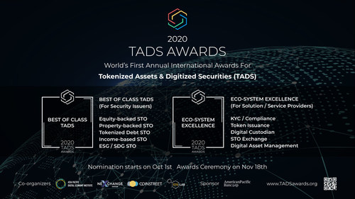 """The Tokenized Assets & Digital Securities Awards (""""TADS Awards"""") is the world's first annual international awards for Tokenized Assets & Digital Securities sector. It celebrates this industry by recognizing and honoring significant contributions and distinguished achievements worldwide. (PRNewsfoto/TADS Awards)"""
