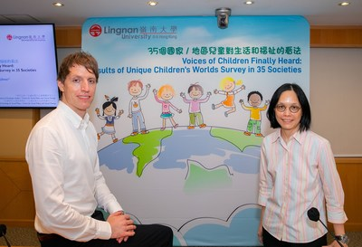 Prof Maggie Lau Ka-wai, Acting Director of the Centre for Social Policy and Social Change of Lingnan University (right), and Prof Stefan Kühner, Associate Professor of Department of Sociology and Social Policy of Lingnan University (left) conduct a survey to collect children's opinions on well-being. Copyright: Lingnan University (PRNewsfoto/Lingnan University (LU))