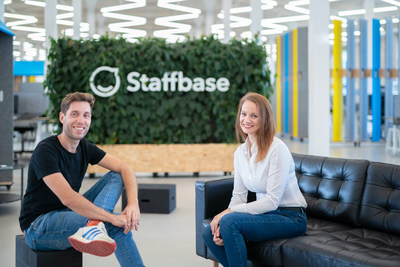 Staffbase's CEO and Founder Martin Böhringer pictured with teambay's Founder and Managing Director Sarah Manes at Staffbase headquarters in Chemnitz, Germany. Photo by Dirk Hanus