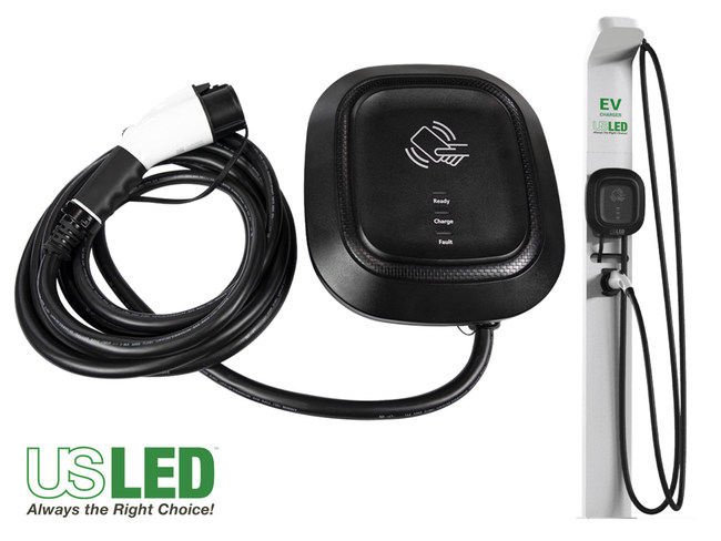 US LED TurboEVC Electric Vehicle (EV) Charger Unit With Plug and Mounting Pedestal