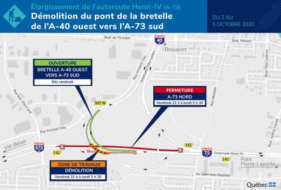 Démolition du pont de la bretelle de l'A-40 ouest vers l'A-73 sud (Groupe CNW/Ministère des Transports)