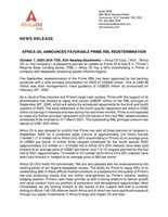 Africa Oil Announces Favorable Prime RBL Redetermination (CNW Group/Africa Oil Corp.)