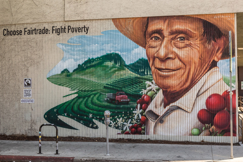 Segundo Alejandro Guerrero Mondragón Mural, by Levi Ponce, located at the Sunset Boulevard Lassens Natural Foods & Vitamins, Los Angeles. This mural is one of three commissioned by Fairtrade America for its Choose Fairtrade:  Choose the World You Want campaign.