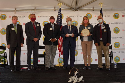 Officials from Nestlé Purina PetCare, the State of North Carolina, Rockingham County, N.C. and the City of Eden, N.C. gather to announce the development of a new Purina pet food manufacturing facility, which the pet care company plans to begin operating in Eden, N.C. in 2022.  From (L to R): North Carolina Senator Phil Berger, City of Eden Mayor Neville Hall, Purina Vice President of Manufacturing Nolan Terry, North Carolina Secretary of Commerce Anthony Copeland, Purina President Nina Leigh Krueger, Rockingham County Board of Commissioners Chair Mark Richardson