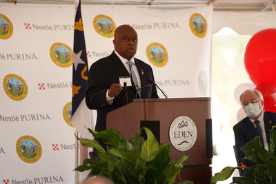 Nestlé Purina PetCare Vice President of Manufacturing Nolan Terry speaks during an event to announce the development of a new Purina pet food manufacturing facility in Eden, N.C.