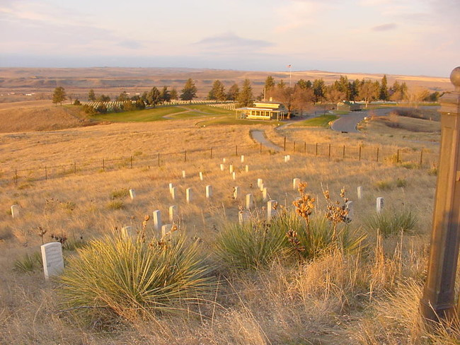 Looking toward the current visitor center from Last Stand Hill at Little Bighorn Battlefield National Monument in Montana. Photo credit: National Park Service
