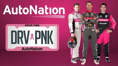 AutoNation Sponsored NTT INDYCAR® SERIES Drivers Show Support during Breast Cancer Awareness Month. Pictured from left to right: Marco Andretti, No. 98 AutoNation Honda Driver and two-time NTT INDYCAR® SERIES race winner, Alexander Rossi, No. 27 AutoNation/ NAPA AUTO PARTS Honda Driver and 2016 INDIANAPOLIS 500® Winner and Jack Harvey, No. 60 AutoNation/ SiriusXM Honda Driver and podium finisher in the 2019 INDYCAR® Grand Prix at Indianapolis Motor Speedway.