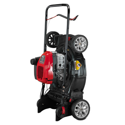 Troy-Bilt® has introduced two new gas-powered walk-behind mowers with SpaceSavr™ storage: the TB260 XP™ self-propelled mower (shown) and the TB170 XP™ push mower. Both models feature a powerful 149cc Troy-Bilt engine and a folding handle that allows the mowers to be stored in small spaces either horizontally or in an upright position. [Photo credit: Troy-Bilt]