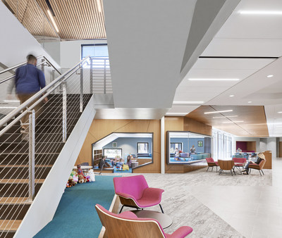 Overland Partners designed ChildSafe's lobby especially for children with a Kid Cave, play nooks, kid-sized furniture, access to the outdoors and natural daylight. Photo by Leonid Furmansky
