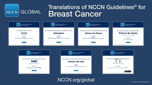 Diretrizes da NCCN (NCCN Guidelines®) para o câncer de mama em chinês, francês, japonês, coreano, polonês, português e espanhol.
