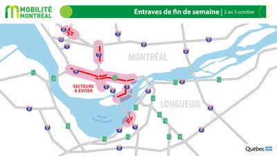 Carte générale des entraves, fin de semaine du 2 octobre (Groupe CNW/Ministère des Transports)