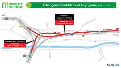 A20 ouest et échangeur Angrignon, fin de semaine du 2 octobre (Groupe CNW/Ministère des Transports)