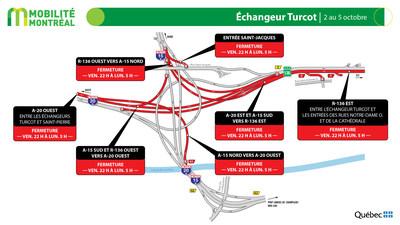 Échangeur Turcot, fin de semaine du 2 octobre (Groupe CNW/Ministère des Transports)