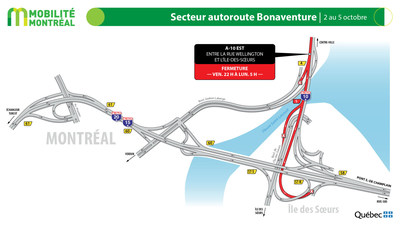 A10 est Bonaventure, fin de semaine du 2 octobre (Groupe CNW/Ministère des Transports)