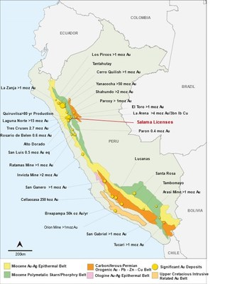 Sentinel's Salama Gold Project situated within Peru's prolific gold-polymetallic Miocene skarn and porphyry belt (CNW Group/Sentinel Resources Corp.)
