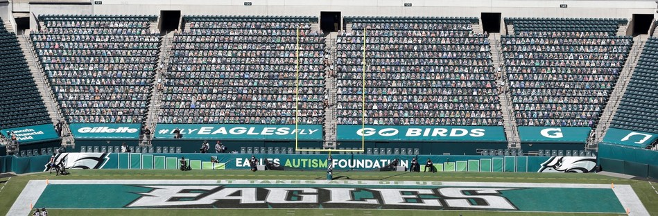 Philadelphia Eagles fan cutouts in stadium