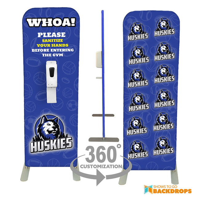 Full front and back graphics allow the custom hand sanitizer dispensers to be an attention-grabbing display