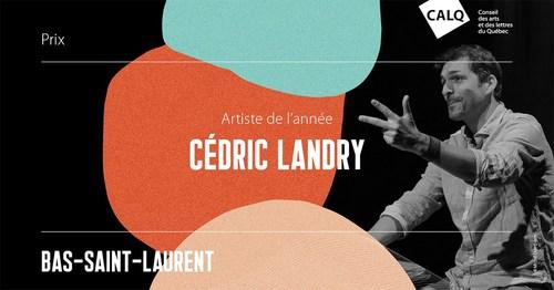 Cédric Landry reçoit le prix du CALQ - Artiste de l'année au Bas-Saint-Laurent. (photo : Michel Dompierre) (Groupe CNW/Conseil des arts et des lettres du Québec)