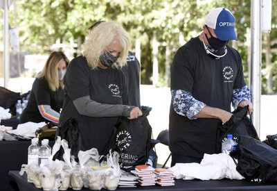 """Volunteers assembled """"mindfulness bags"""" in partnership with the Living Classrooms Foundation, a Baltimore – Washington, D.C. nonprofit"""