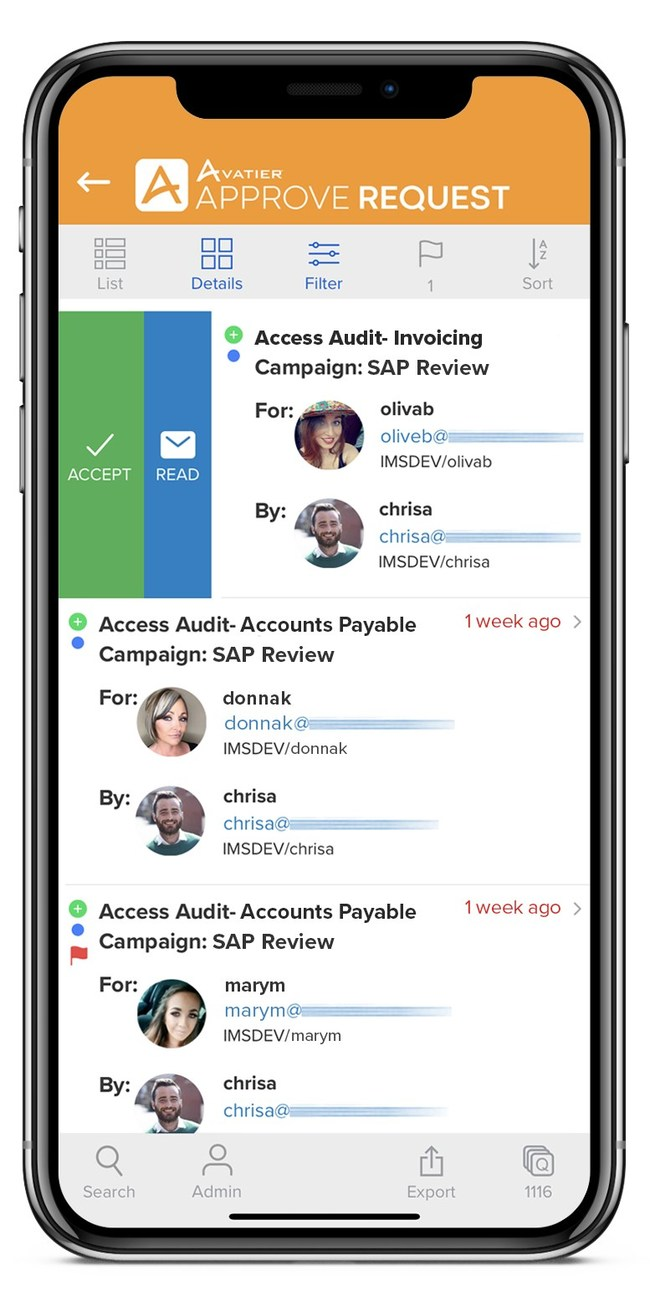 User access reviews with photos are integrated into Avatier's mobile workflow approval user experience. Leverage touch screen support, attach evidence, share items, export reports to auditors from your mobile device.