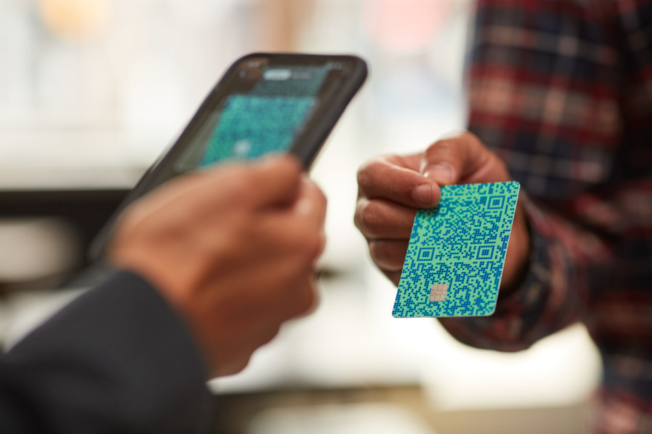 The QR code on the front of the card can be scanned via a mobile phone camera to activate the card, or in the Venmo app by friends to send a payment or split purchases.