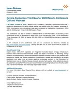 Keyera Announces Third Quarter 2020 Results Conference Call and Webcast (CNW Group/Keyera Corp.)