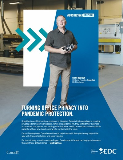 Glenn Bostock, SnapCab founder and CEO, featured in Export Development Canada advertising campaign. (CNW Group/SnapCab)