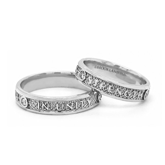 "Sterling Silver ""Unity Makes Strength Band Rings"