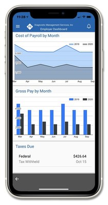 Example of Payroll Dashboard on Payroll Relief Mobile App