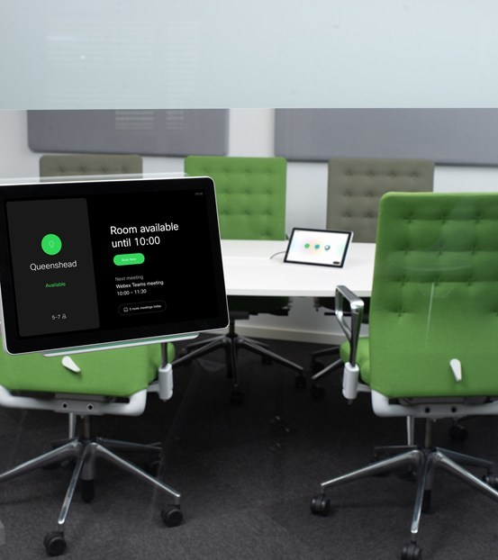 The Webex Room Navigator. Both the in-room and out-of-room model are shown here.