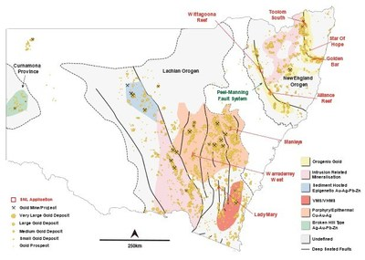 Figure 1: Sentinel's 8 Gold Project Projects located in New South Wales, Australia (CNW Group/Sentinel Resources Corp.)