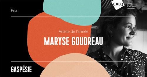 Maryse Goudreau remporte le prix du CALQ - Artiste de l'année en Gaspésie. photo : Mathieu Bouchard-Malo (Groupe CNW/Conseil des arts et des lettres du Québec)