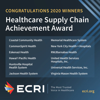 ECRI, an independent nonprofit organization that improves the safety, quality, and cost-effectiveness of patient care, announces the winners of its 2020 Healthcare Supply Chain Achievement Award. This ninth annual award recognizes twelve U.S. health systems for excellence in overall spend management and adopting best practice solutions into their supply chain practices. To learn more, visit www.ecri.org.