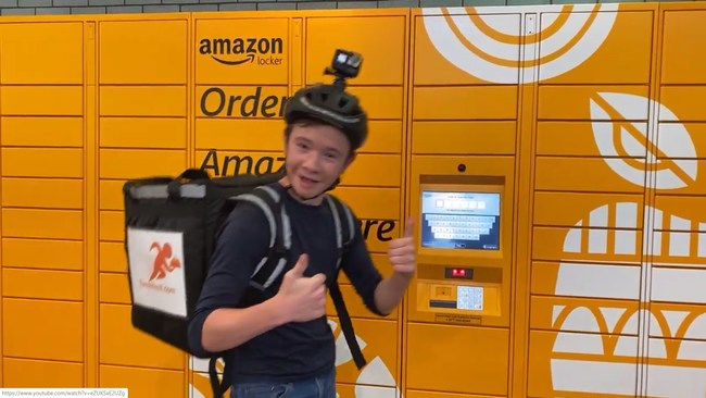 Teen Hustl delivering from an Amazon Locker