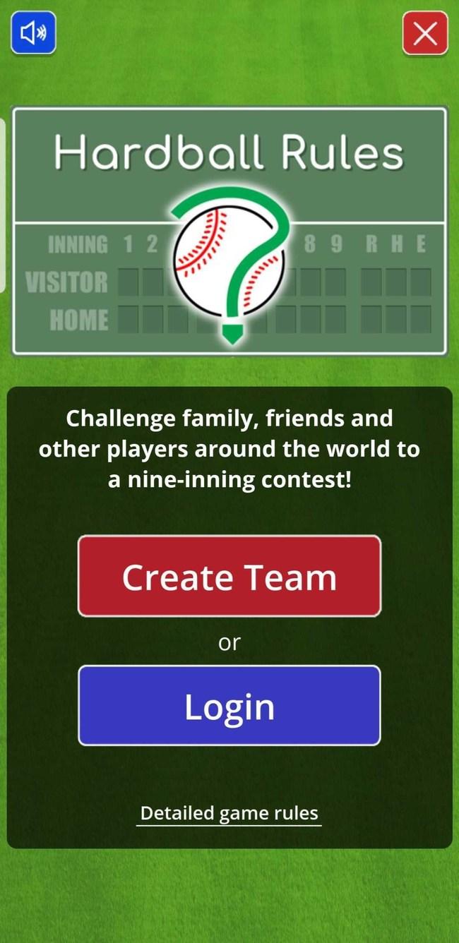 Hardball Rules: Welcome screen
