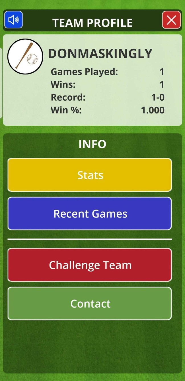Hardball Rules: Team Profile screen