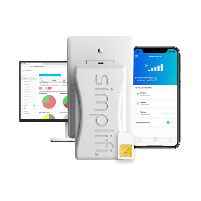 Simplifi Connect LTE router with desktop and mobile remote management dashboards.