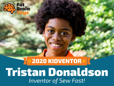 """The winner of this year's Kidventor Challenge is ten-year-old Tristan for his invention of a game entitled Sew Fast. A unique game of speed and skill, Sew Fast challenges players to sew specific shapes into """"sew boards"""" full of random holes. The first player to complete the randomly chosen pattern before the 90-second timer is up wins the round. The first to score 10 points wins the game."""