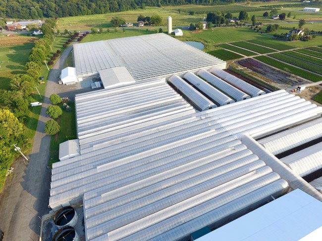 An aerial view of Edible Garden headquarters. The company operates thousands of acres of sustainable greenhouses and hydroponic farms.